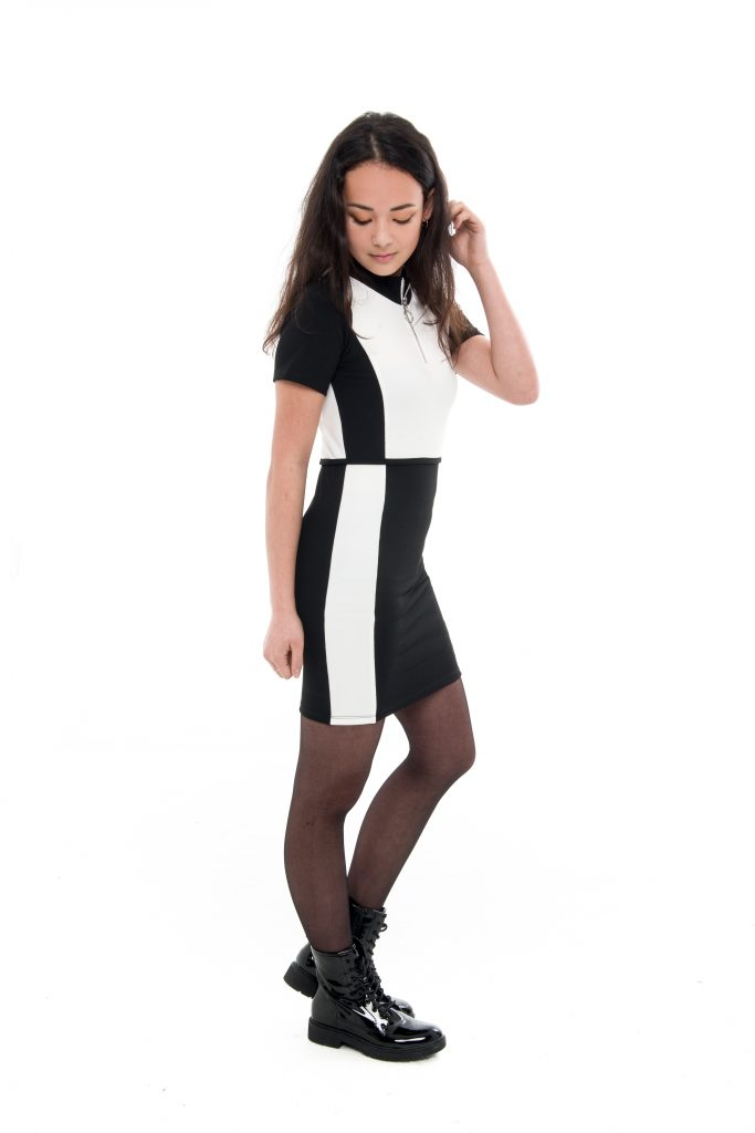 Frankie&Liberty, celena dress, cool dresses, black and white colourblock, teen girls fashion, tienerjuriken , tienermeiden mode,