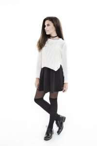frankie & Liberty, Frankie and Liberty, Black skirt , White cardigan