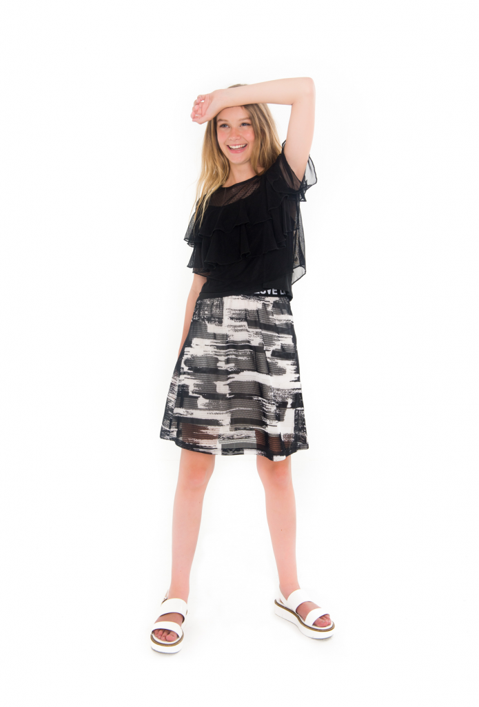 long skirt, lange rok tieners, frankie and liberty, frankie en liberty, ruffle top, tienermeiden mode