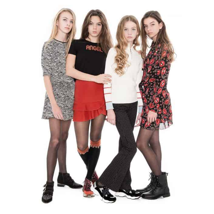 4 girls in frankie and liberty clothes from aw 19 collection. key campaign visuals